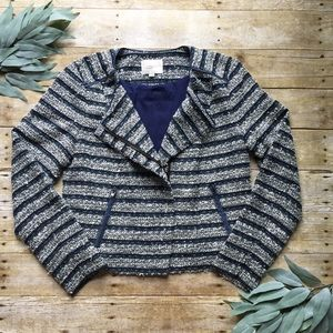 Ann Taylor LOFT Blue & White Tweed Blazer, Size 6